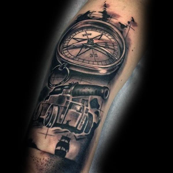 Trendy Cannon Tattoo On ARm
