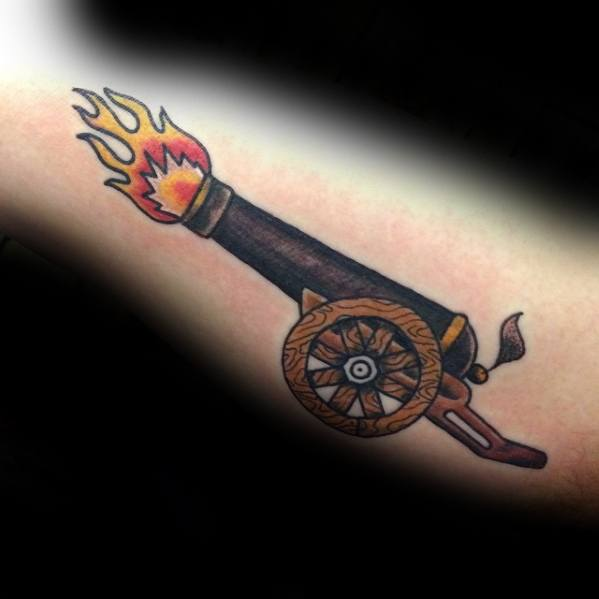 Ultimate Cannon Tattoo On arm for Boys