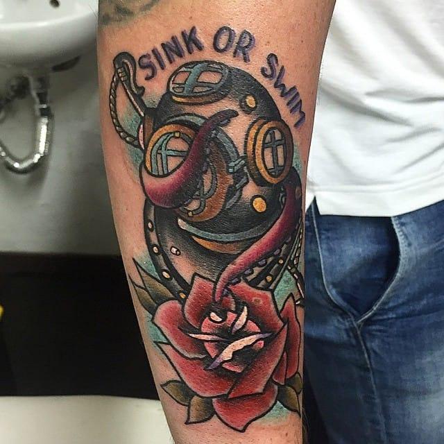 Weird Diving Helmet Tattoo On arm for mens