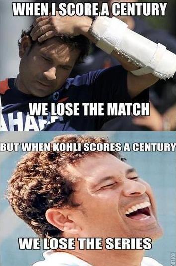 When i score a century we lose the match Cricket Meme