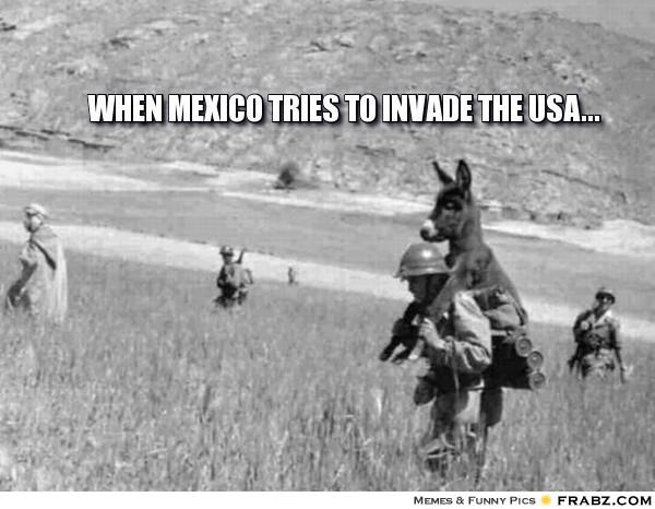 When mexico tries to invade the usa Donkey Meme