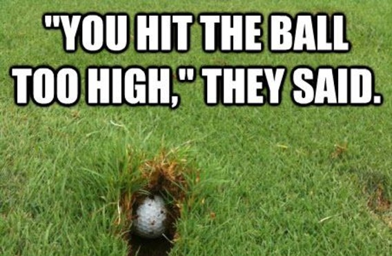 You hit the bacll too high they Golf Meme