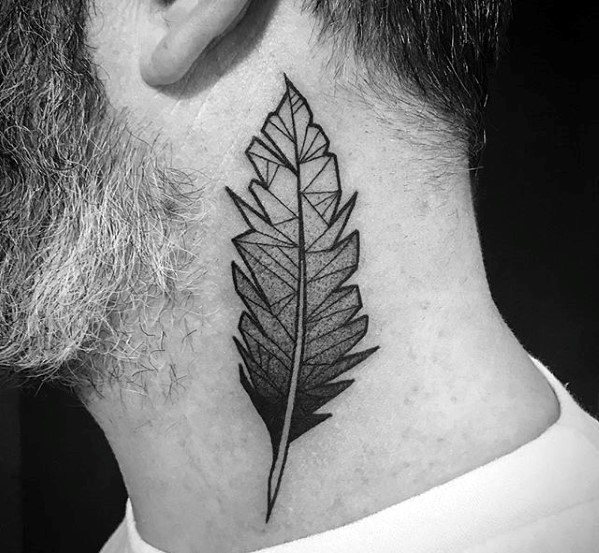 Awesome Geometric Feather Tattoo On neck for old person