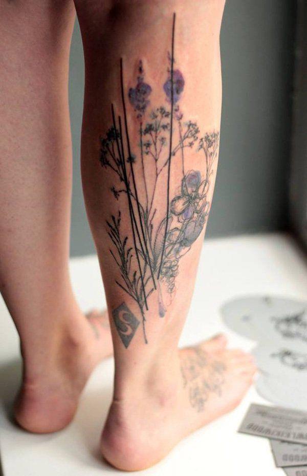 Brilliant Calf Tattoos On leg for men