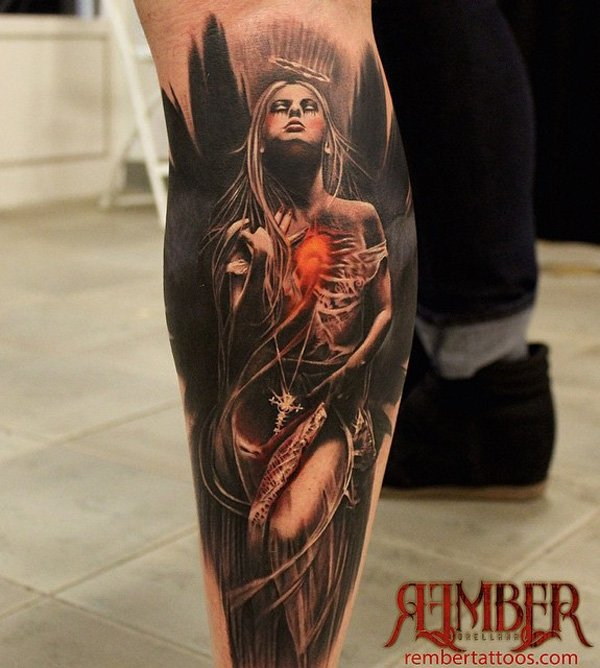 Charming Calf Tattoos On leg for Girl