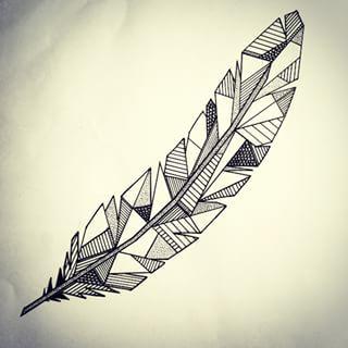 Charming Geometric Feather Tattoos for boy