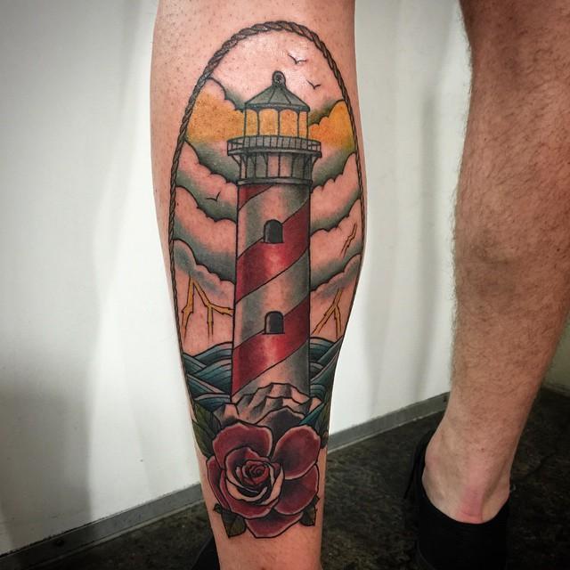 Cool Calf Tattoos On leg for men