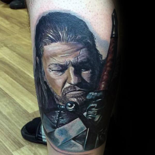Creative Game Of Thrones Tattoos On leg for men