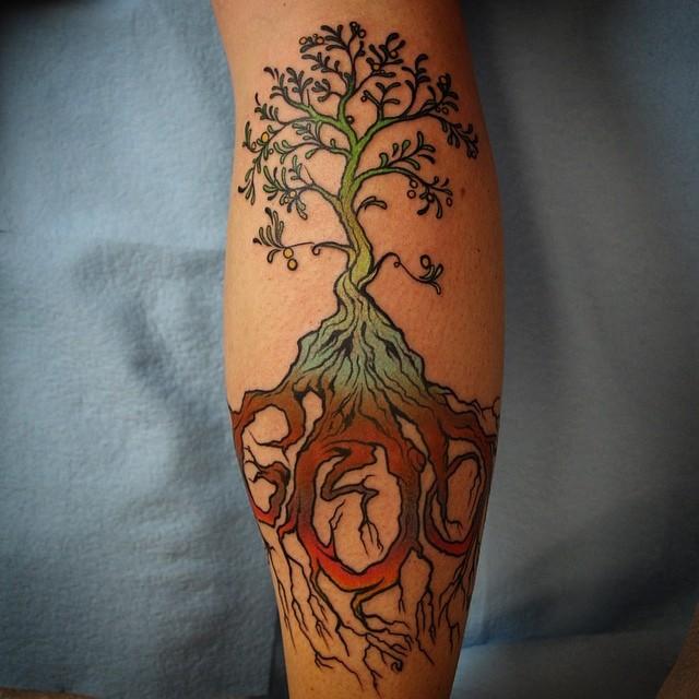Custom Calf Tattoos On leg for girl