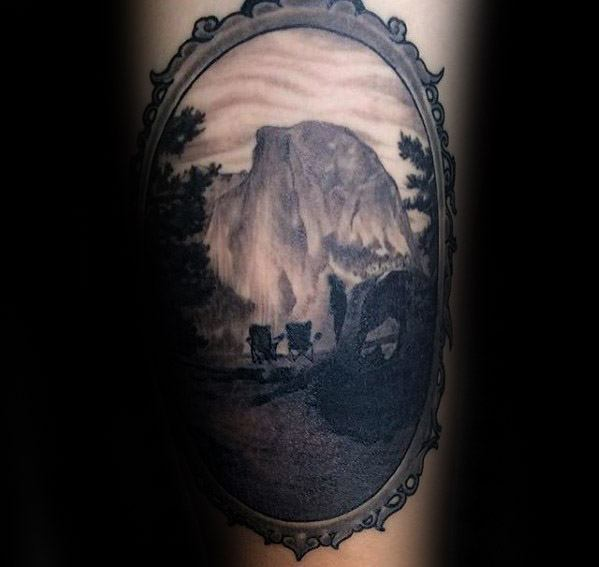 Cute Camping Tattoos On Arm for Ladies