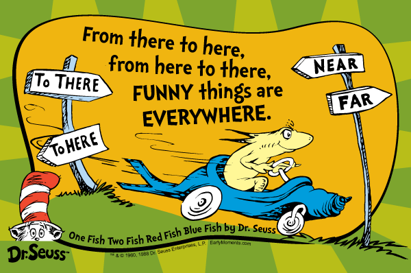 Dr Seuss Quotes from there to here from here to there