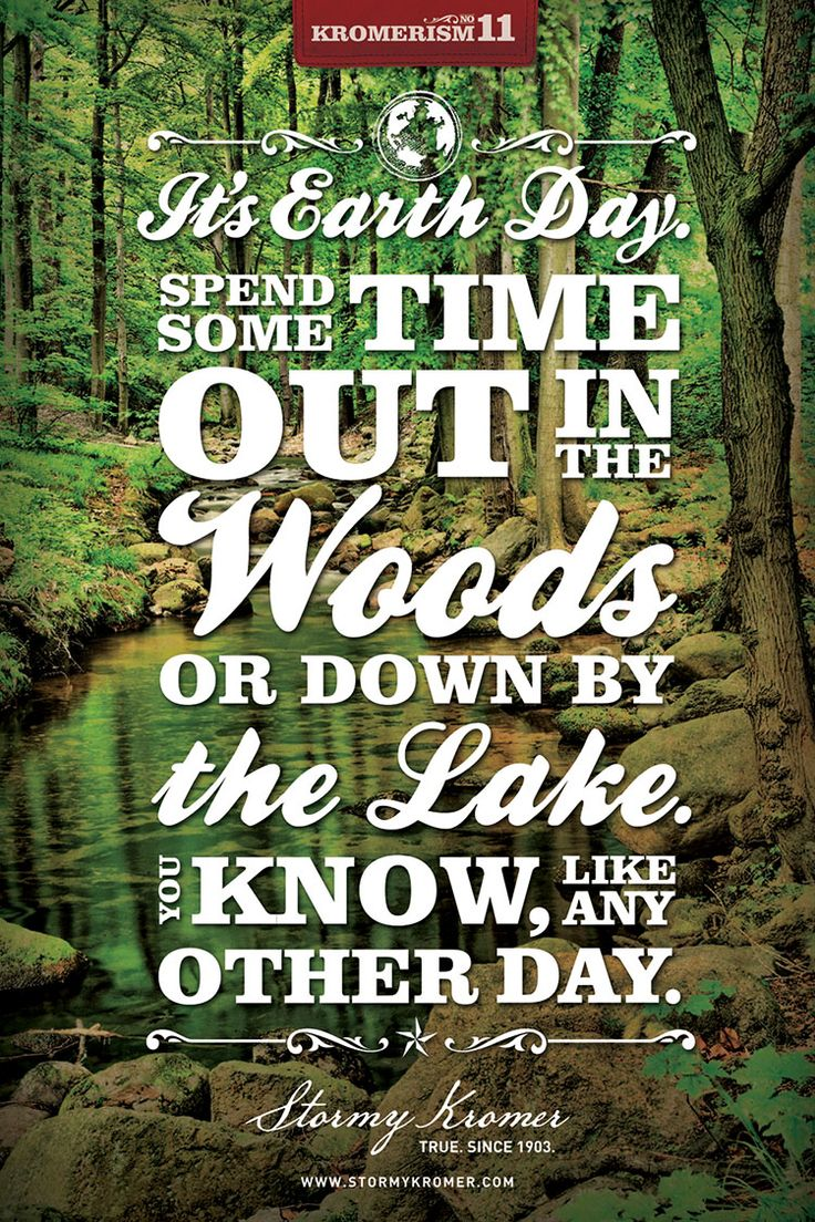 Earth Day Quotes its earth day spend some time out in the woods or down by the