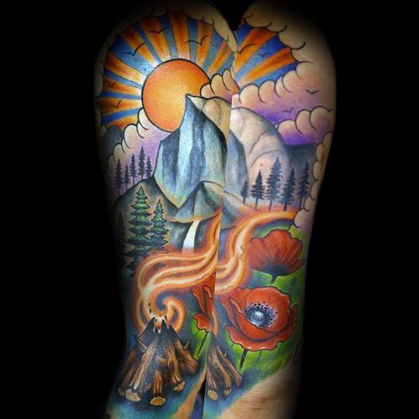 Fabulous Camping Tattoos On arm for Girls