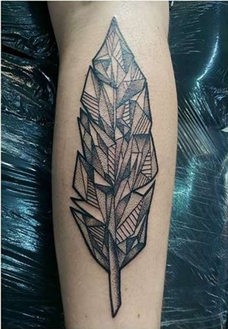Famous Geometric Feather Tattoo On arm for women