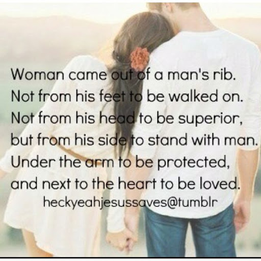 Inspirational Love Quotes women came out of a man's rib not