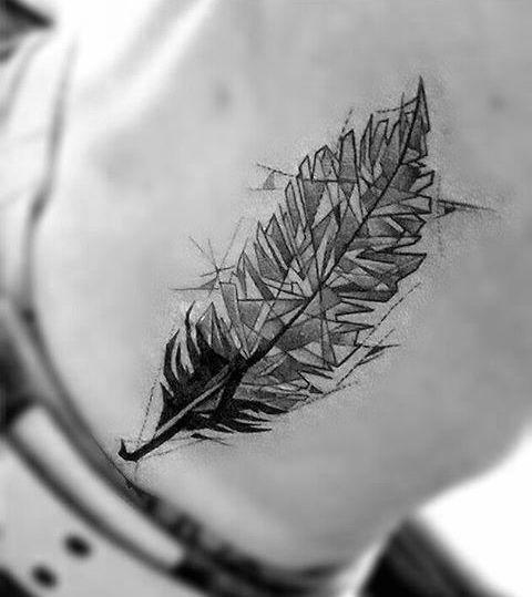 Marvel Geometric Feather Tattoo On rib for boy