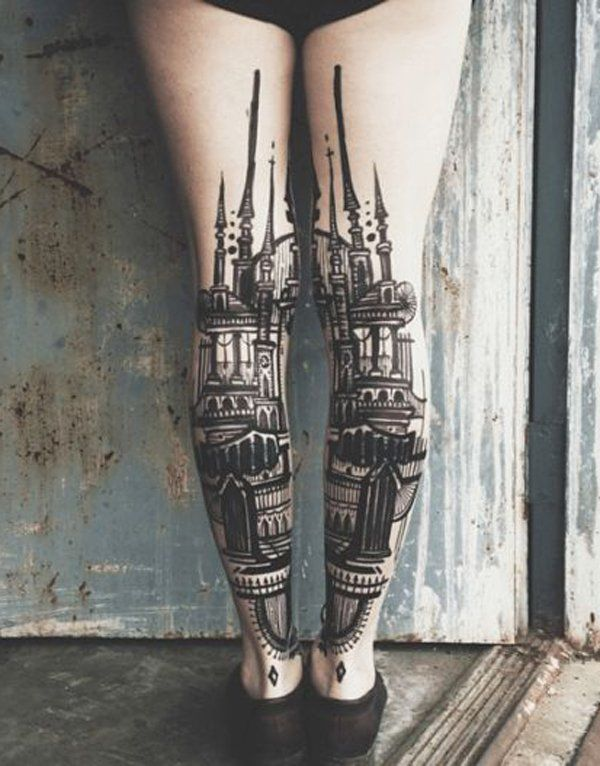 Mind blowing Calf Tattoos On leg for Thigh and leg