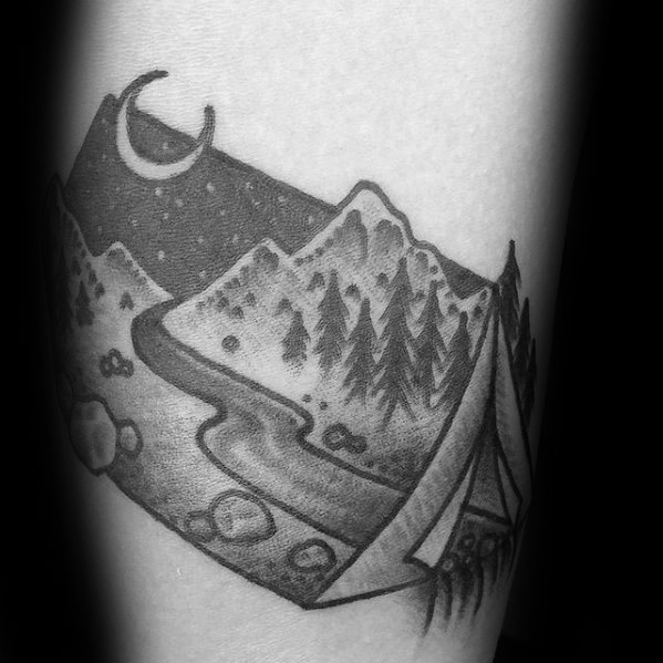 Out standing Camping Tattoos On Leg for Girls
