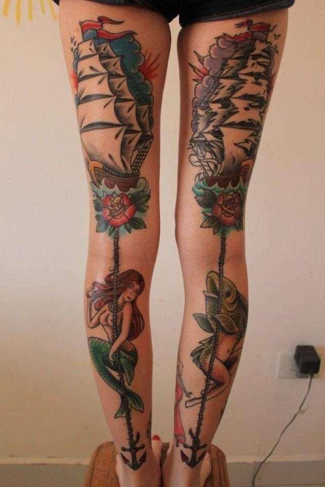 Popular Calf Tattoos On leg back side full