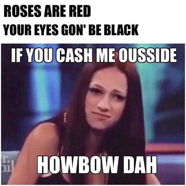 Roses are red your eyes Cash Me Outside Meme