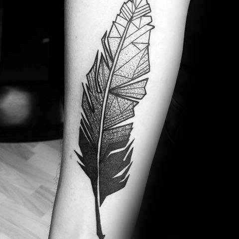 Sensation Geometric Feather Tattoo On arm for girl | Picsmine
