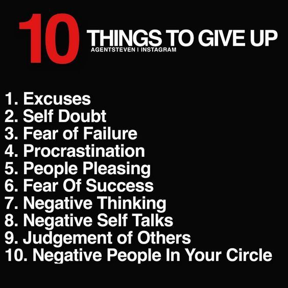 Success Quotes 10 things to give up excuses self doubt fear of failur procrastination