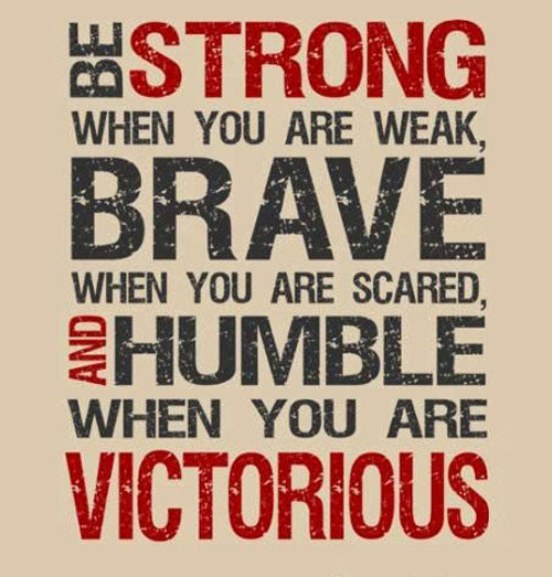 Success Quotes Be strong when you are weak brave when you are scared and