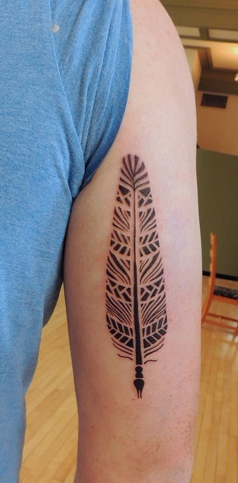 Sweet Geometric Feather Tattoo On arm for men