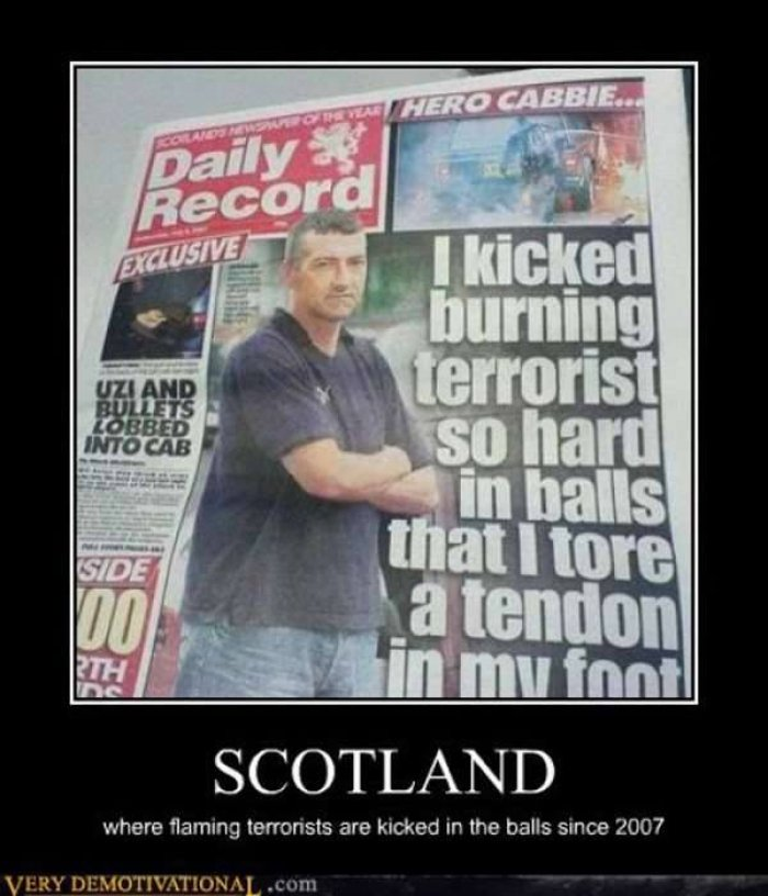 Terrorists Meme I kicked burning terrorist so hard in balls