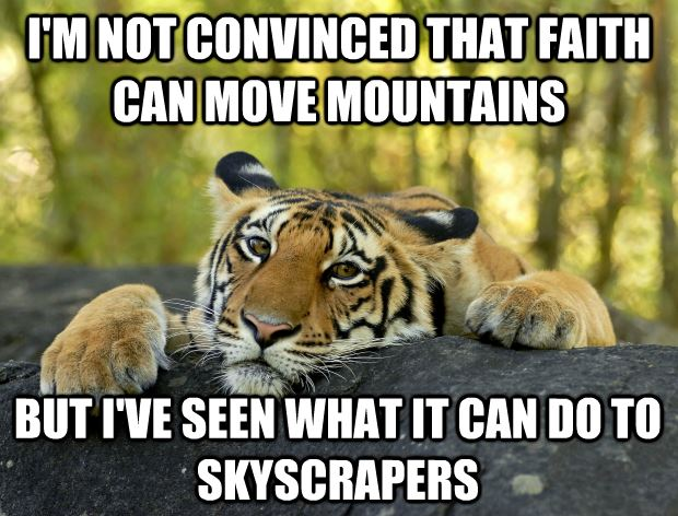Tiger Meme I'm not convinced that faith can move