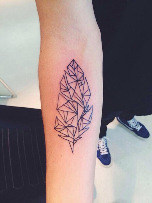 Traditional Geometric Feather Tattoo On arm for guy