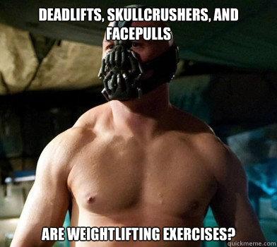 Weightlifting Memes Deadlifts skullcrushers and facepulls