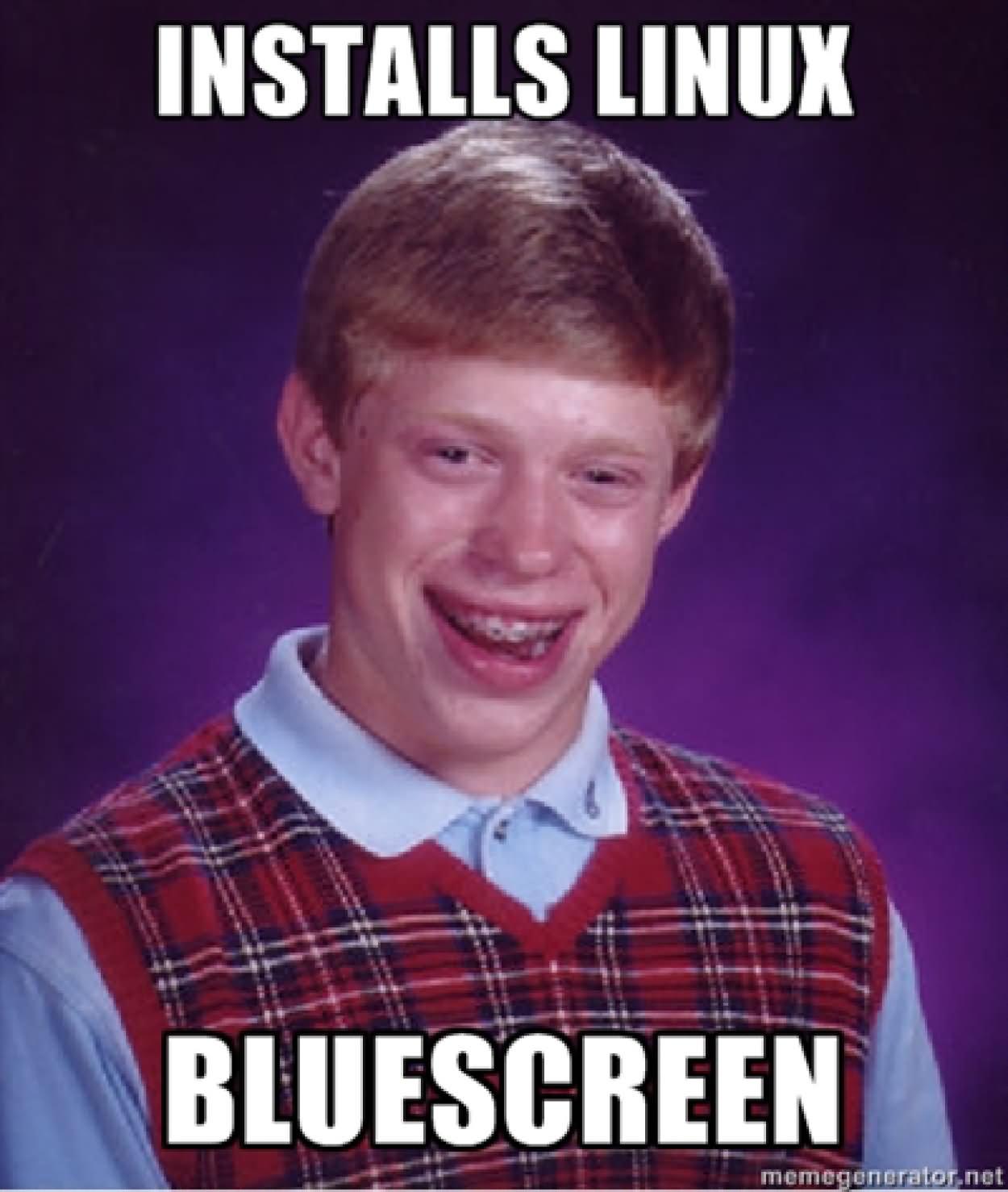 Weird Meme Installs linux bluescreen