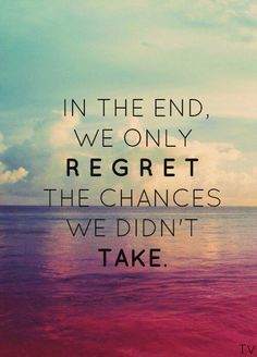 believe quotes in the end we only regret the chances