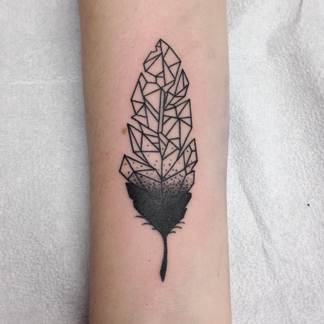 perfect Geometric Feather Tattoo On arm for women