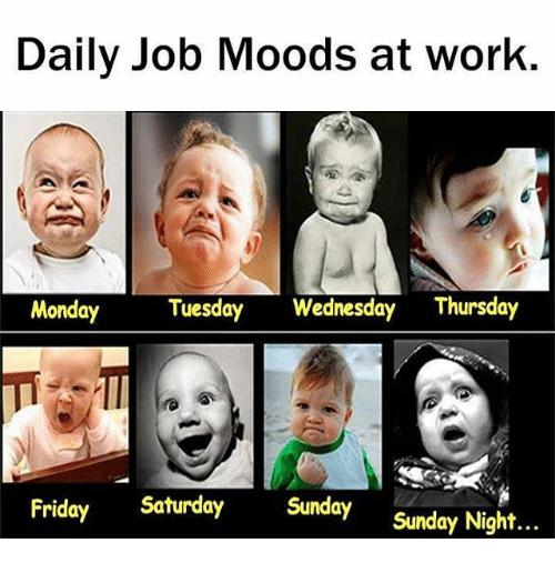 Daily job moods at work Wednesday Work Meme