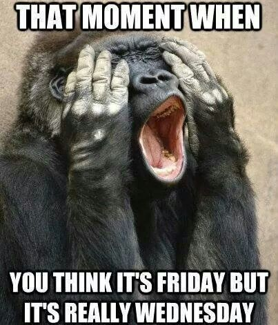 Wednesday Work Meme that moment when you think it's Friday but it's