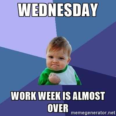 Wednesday work week is almost over Wednesday Work Meme