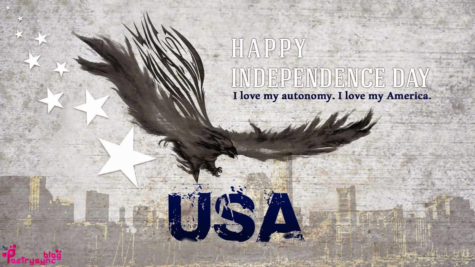 4th July Happy Independence Day USA I Love My America Wishes Message Wallpaper