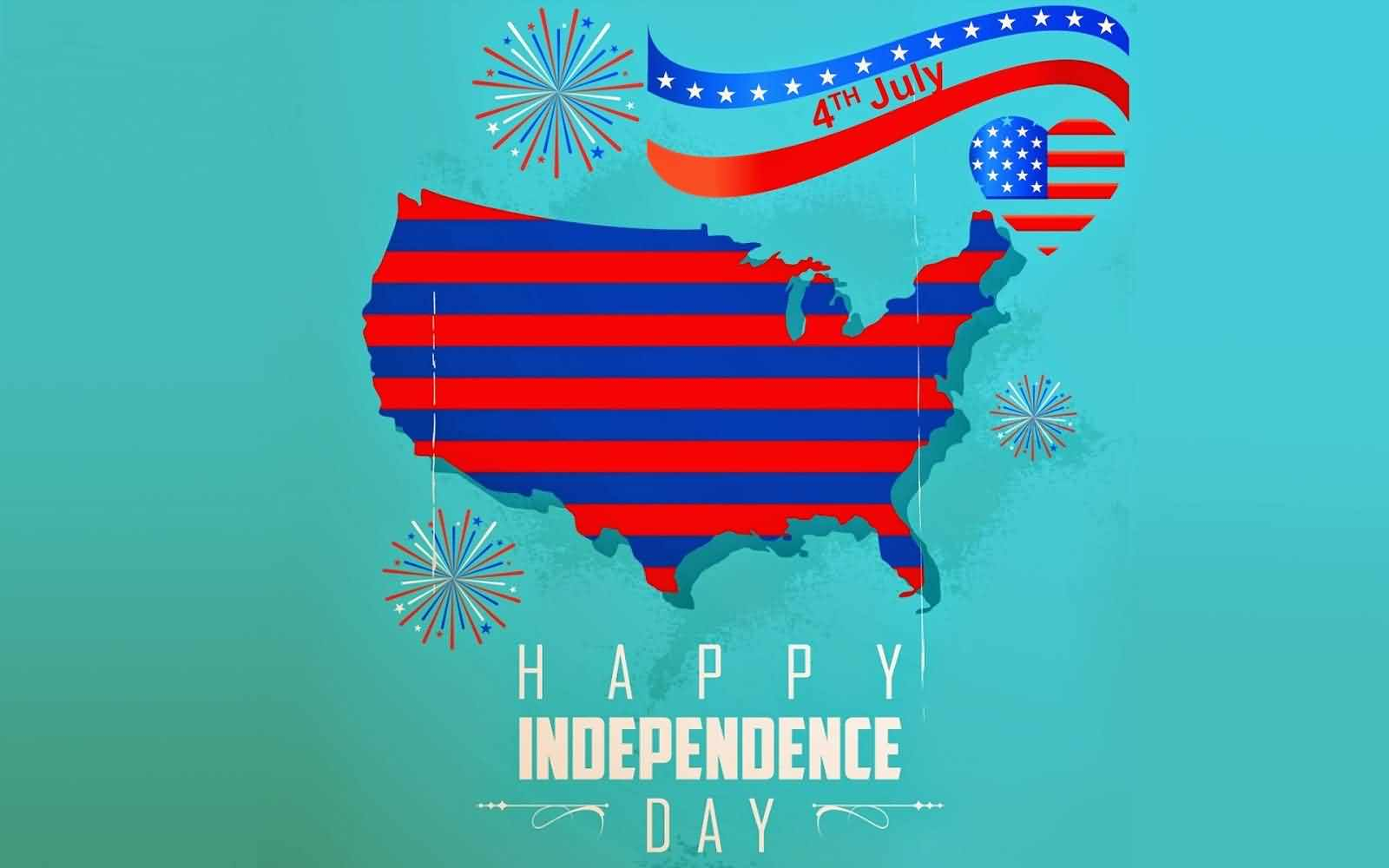 Beautiful 4th July Happy Independence Day Greetings Card Image