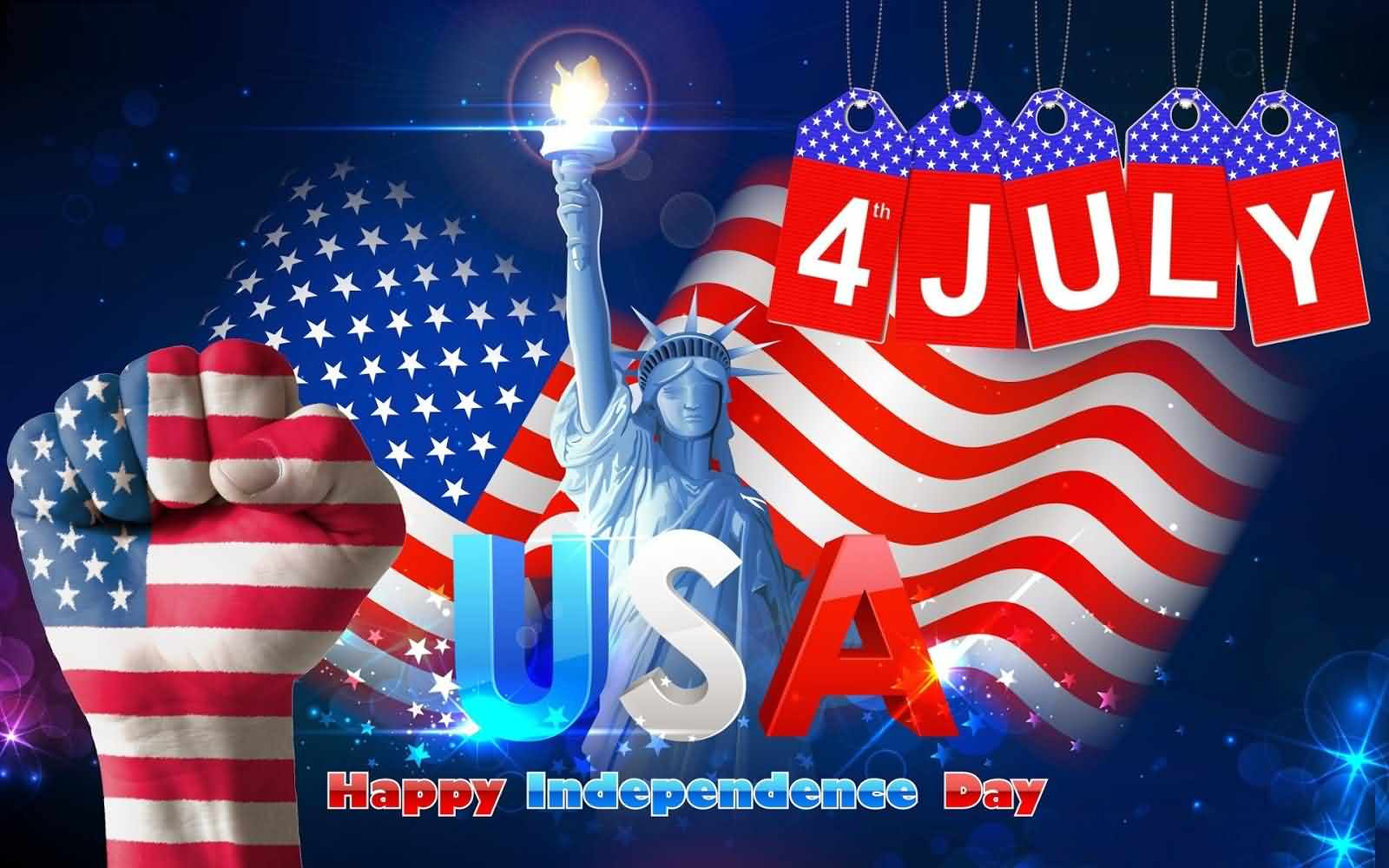 Happy Independence Day 4 July Wishes Wallpaper