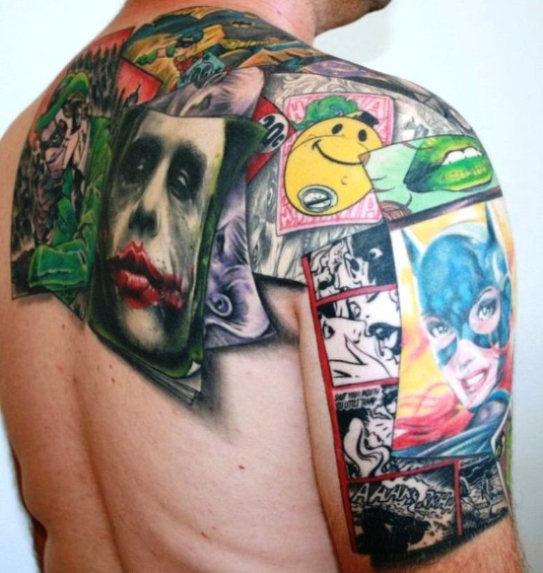 55 classic comic tattoo designs ideas pictures photos for Marvel comics tattoos